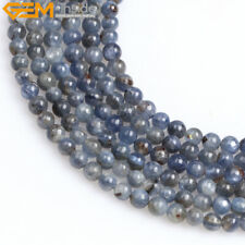 "Natural Stone Round Blue Kyanite Gemstone Beads For Jewelry Making 15"" 4mm 6mm"