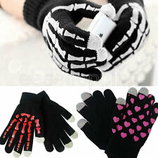 Unisex Mens Skeleton Touch Screen Knitted Warm Sports Gloves Winter Mittens Free