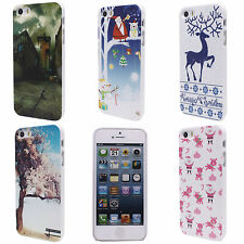 House Tree Christmas Elk Image Hard Back Shell Skin Case Cover for iPhone 5 5S