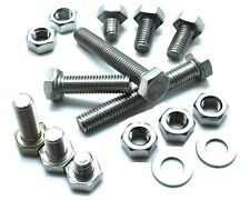 M8 A2 STAINLESS FULLY THREADED BOLT SCREW + FULL NUTS & WASHERS HEXAGON HEX HEAD
