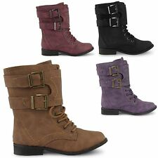 NEW GIRLS BOYS LOW HEEL LACE UP ARMY COMBAT ANKLE MILITARY WORKER BOOTS 10-2