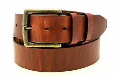 "1 1/2"" Hot Dipped Tan Harness Leather Belt With Antique Brass Buckle Made In USA"