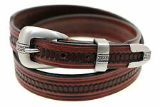 American Made Chestnut Leather Belt 32mm Tapered Embossed 3 Piece Buckle Set