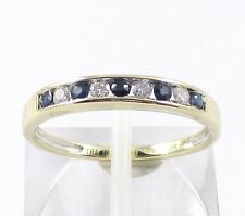 9CT GOLD SAPPHIRE & DIAMOND CHANNEL SET ETERNITY RING VALENTINE ANNIVERSARY GIFT