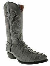 Mens crocodile alligator cowboy boots gray leather tail cut western round toe