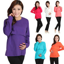 1 New Women Pregnant  Maternity Nursing Feeding  Summer Cotton Long Sleeve Top
