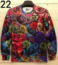 Romantic Love Mens Womens 3D Rose flower Crew Sweats Pullover Top Hoodie Jumper