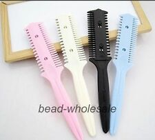 2Pcs Barber Remover Tool Hair Cutter Trimmer Thinning Shaper Comb 2 Razor Blades