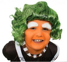 CHILDS FACTORY WORKER WIG GREEN CHOCOLATE FANCY DRESS BOOK WEEK FILM CHARACTER