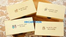 Korea Lovely Wood Stamps Set - 21 Mini Stamp With Copper Hasp Box