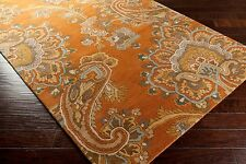 Plush Traditional Wool Area Rug Rectangle Paisley Damask Copper Brown Gray Gold