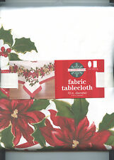 Ivory with Red & Gold Poinsettias Red Boarder Tablecloth Choose size NEW