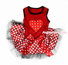 Valentine Red White Dot Heart Red Sleeveless Minnie Skirt Dress Pet Dog Outfit