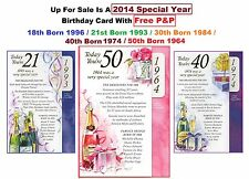2014 Special Year 18th 21st 30th 40th 50th Birthday Card Lady Male Man Free P&P