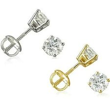 1/2ct Diamond Stud Earrings in 14K Gold with Screw Backs