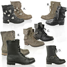 LADIES WOMENS ARMY MILITARY WORKER FLAT LOW HEEL LACE UP COMBAT BIKER BOOTS SIZE