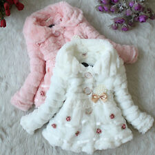 New Size 1-5Y  Girls Coat  Kids Faux Fur Fleece Lined Jacket /Coat GC010