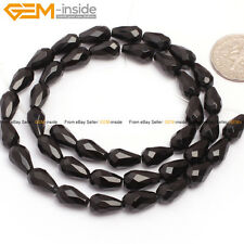 "Natural Stone Black Agate Gemstone Beads For Jewelry Making 15"" Faceted Drop"