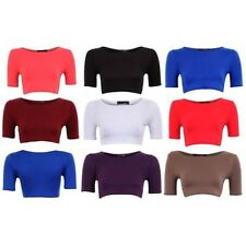 Blouse Top Women Short Sleeve Plain Colored Cropped New
