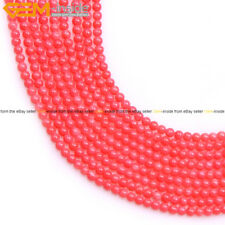 Natural Stone Dyed Round pink Orange coral jewelry making gemstone beads 15""