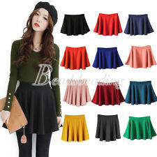 Women's Candy Color Stretch Waist Pleated Jersey Plain Skater Flared Mini Skirts