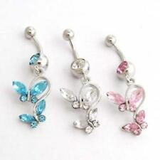 316L Surgical Steel Crystal Double Butterfly Belly Bar Dangle Navel Button Ring