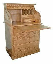 Amish Small Rolltop Secretary Writing Desk Hutch Office Furniture Solid Wood
