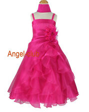 F4011 Hot Pink Organza Bridesmaids Pageant Flower Girl Dress Sz 4 to 14 Yrs