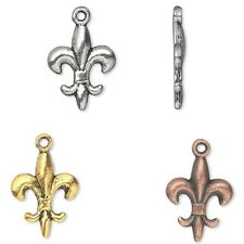 Lot of 50 Plated Pewter 5/8 inch 15mm Fleur De Lis Drop Charms w/Antique Finish