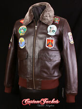 Men's TOP GUN BROWN G-1 Bomber Fighter Pilot Aviator Cowhide Leather Jacket