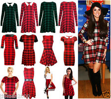 Women Red Tartan Check Print Swing Skater Dress Vest Top Skirt Legging Plus Size