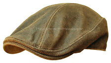 Distressed Leather Ivy Cap Mens Brown Gatsby Newsboy Hat Golf Driving Flat