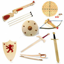 Childrens Wooden Sword Shield Guns Armour Battlefield Toy Fighting Boys Pretend