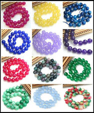 Natural 6mm 8mm 10mm 12mm 14mm Round Jade Agate Gemstone Loose Beads Strand 15""