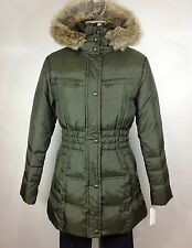 Andrew Marc New WT Olive Green Slimming Coyote Fur Hooded Down Belted Jacket M L