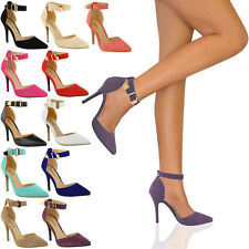 LADIES WOMENS HIGH HEEL POINT TOE STILETTO SANDALS ANKLE STRAP COURT SHOES SIZE