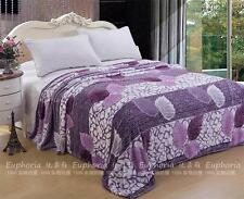 Euphoria Soft Plush Fleece Throw Blanket Bedspread Purple Leaf Single Queen King