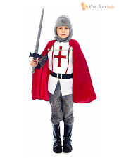 Boys Medieval Knight Costume Kids Childrens Fancy Dress St George Age 4-12 years