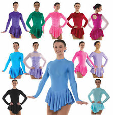 Ice Skating Dress Nylon Lycra Velvet Skirted Leotard FREE Scrunchie Up to UK 12