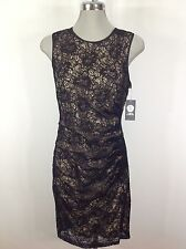 Vince Camuto NWT Black/Beige Lace Dress with Ruching side and trimmed back zip 6