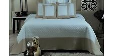 MODERN Solid Taupe/White Cotton Quilted BEDSPREAD QUILT SET Oversized (to floor)