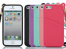 Lanyard Wrist Band Card Slot PU Leather TPU Back Cover Case for iPhone 5 5S