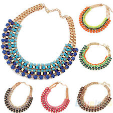 WOMENS ALLOY BUBBLE BIB STATEMENT WEAVE MULTICOLOR NECKLACE FOR PARTY CLUB BA2K