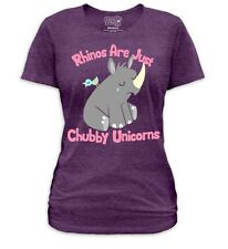 New Rhinoceros Rhinos Are Just Chubby Unicorns Ladies Women Jr Soft T-shirt Top