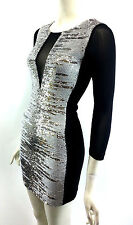 NWT BEBE ADDICTION Sequin Bodycon Club Party Dress Mesh 3/4 Sleeve Sz XXS XS S L