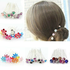 10pcs Multiple Color Bridal Party Wedding Pearl Crystal Rhinestone Hair Pins