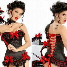 Sexy Black Satin Red Lace Ruffle CORSET Ribbon Bustier Showgirl TOP S-2XL