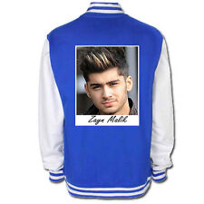 NEW ONE DIRECTION BLUE VARSITY JACKET COAT WITH ZAYN MAILK PICTURE DESIGN