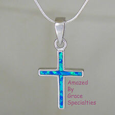 New! Small Sterling Silver OPAL INLAY Cross with Sterling SNAKE CHAIN