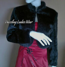 Black Faux Fur Bolero Long Sleeves Jacket/Shrug/Stole/Wrap/Shawl Satin Lining